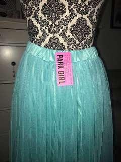 Turquoise gathered skirt
