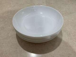 White Shallow Bowls Set of 6