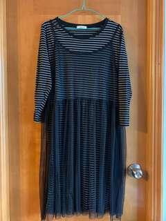 間條連身紗裙