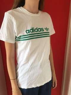 Adidas white and green tshirt