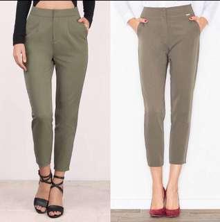 🚚 Highwaist Tapered Pants (Olive Green)