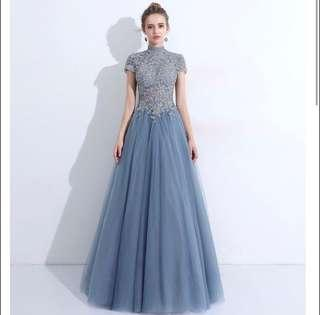 Turtleneck Lace Bridal Evening Gown in Sky Blue