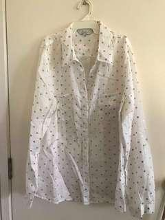 White work blouse with golden spots