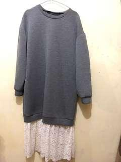 Dress Zara Trafic Collection Grey long sleeve