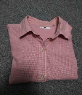 Uniqlo Red Checked Long Sleeves
