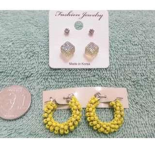 Fashion Earrings: Cube Studs & Yellow Loop