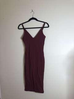LUCK AND TROUBLE Burgundy Midi Dress