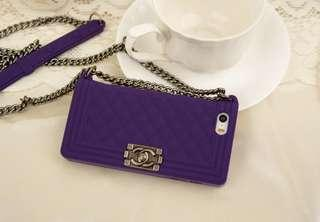 🚚 2nd Hand Purple Rubber Chanel iPhone 5 5s Handphone Cover