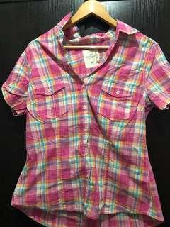 Plaid pink polo blouse