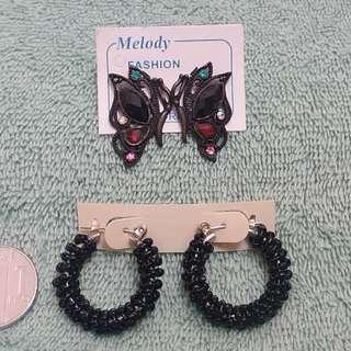 Fashion Earrings: Butterfly & Black Loop