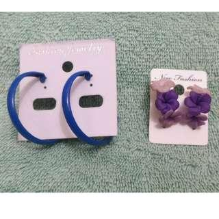Fashion Earrings: Blue Loop and clay flowers
