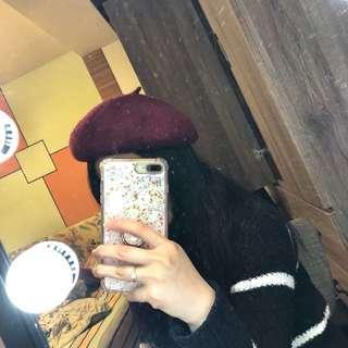 🚚 酒紅色貝蕾帽畫家帽