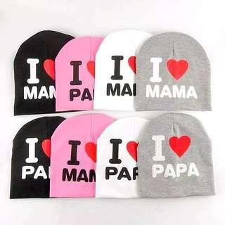Topi Kupluk I Love Mama Papa