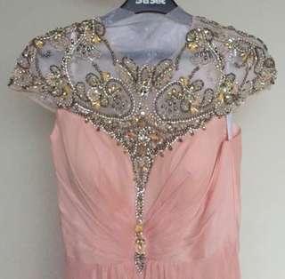 Formal pastel pink sequined dress