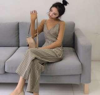 gingham checkered jumpsuit