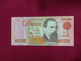 Uruguay 2000 nuevo pesos 1989 issue