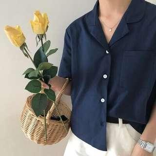 🚚 (instock) buttoned down short sleeved cropped blouse - navy
