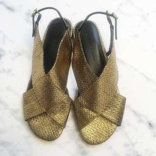 Charles & Keith Gold Strapy Sandals