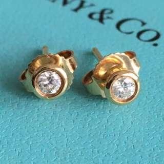 Tiffany ELSA PERETTI Diamond Studs 0.08 Carat in 18k Yellow Gold