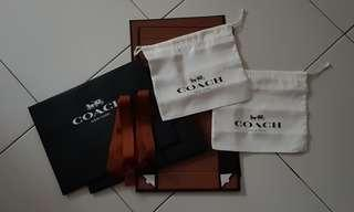 🚚 AUTHENTIC Coach dustbags, boxed, ribbons and paper bags (Medium wallets)