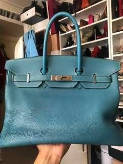 Authentic hermes Birkin 35 in blue jean togo