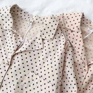 早春~可愛波點襯衫領上衣