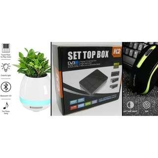 CHEAP! NEW DVB-T2 Digital TV Box + NEW Music Bluetooth Speakers Flower Pot + NEW 1600dpi Optical Wireless Mouse $35 !!