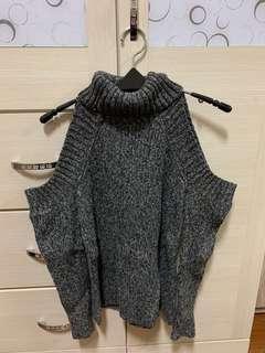 🚚 針織毛衣 高領毛衣 露肩上衣 深灰色