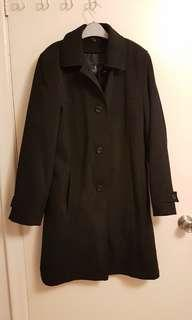 Full length black London Fog raincoat
