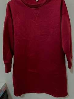 🚚 長版上衣 洋裝 內鋪棉 酒紅色