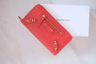 Ready Balenciaga Wallet Woman Zipper in Red (rec store)