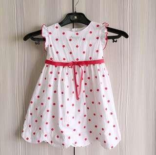 Any princess安妮公主 女童點點洋裝 連身裙 波浪袖邊 紅色蝴蝶結 二手