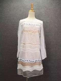 Embellished guipure lace dress