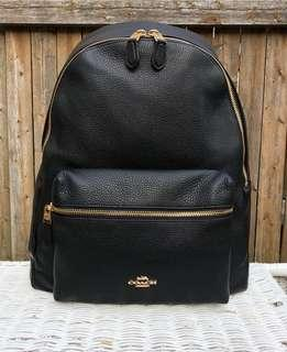 Coach pebbles  leather Charlie Backpack ready stock