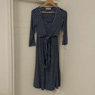 JoJo Maman Bebe Navy Stripe Maternity & Nursing Tie Dress 藍白間條孕婦哺乳裙