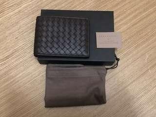 全新正品-BOTTEGA VENETA經典羊皮零錢短夾(深咖啡)
