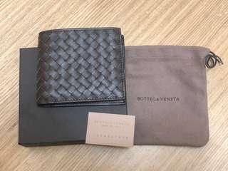 全新正品-BOTTEGA VENETA經典羊皮八卡短夾(深咖啡)BV