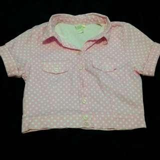 Pink cropped polo