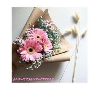 Vday Fresh Flower Bouquet 3 stalks of pink gerbera daisy with mixed white + pink + blue baby's breath