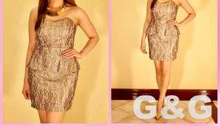 Gold Tube Peplum Lace Dress