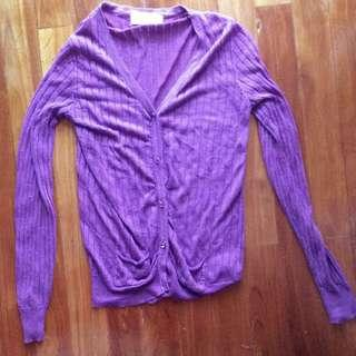 🚚 Almost New Purple Knit Cardigan With Pearl Buttons