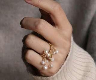 天然珍珠14k包金流蘇開口介指