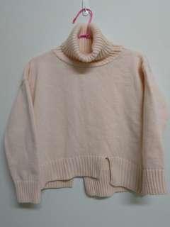 🚚 質感好 磅數高♡粉膚色翻領針織毛衣