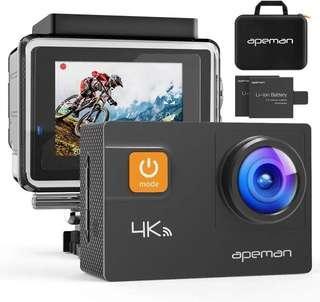 🚚 APEMAN 4K Action Camera WiFi 20MP Waterproof Underwater Cam Ultra 170 Angel 2 Inch LCD Display /2 Rechargeable Batteries/30M Waterproof Case/Carrying Bag/Full Accessories Kits