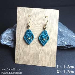 🚚 Blue crochet handmade earrings // micro macrame macramé lane22 classic #3
