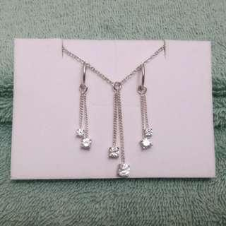 Fancy Jewelry Set: Dainty silver with diamond-like pendants