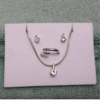 Fancy Jewelry Set: Minimalist silver and diamond-like studs