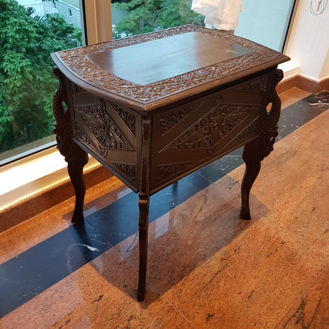 40 Years Imported Antique Vintage Wooden Side Table Chest Storage