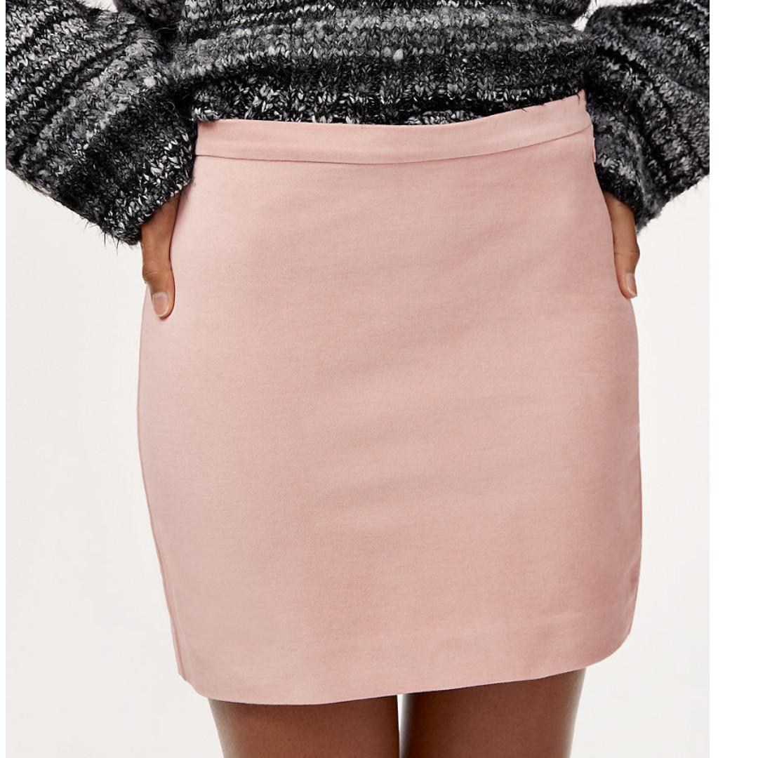 Aritzia Babaton Ripley Blush Pink Velvet Mini Skirt - Size XXS, 00