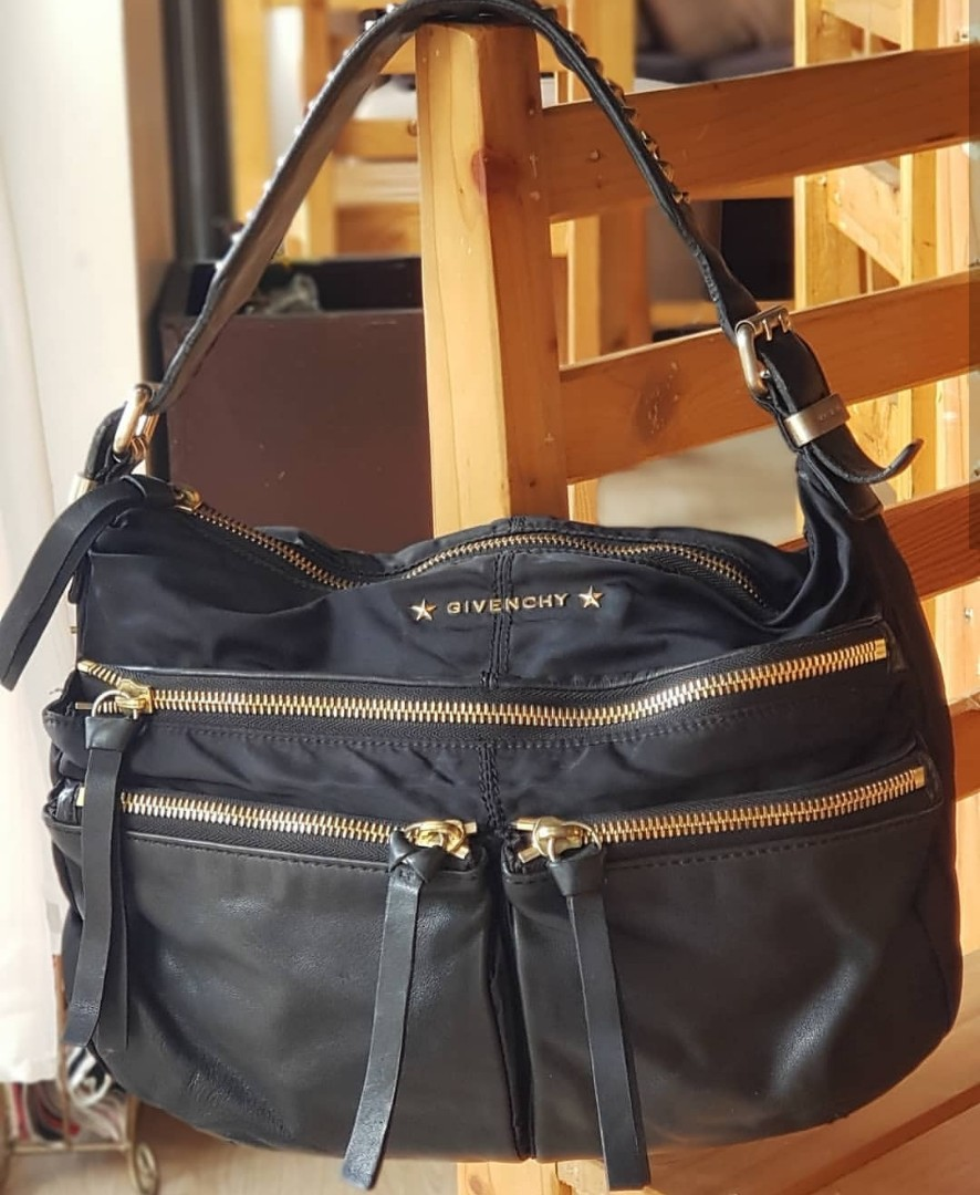 Authentic Givenchy Star-studded Handle Nylon and Leather Hobo ... 37fc58cc0997b